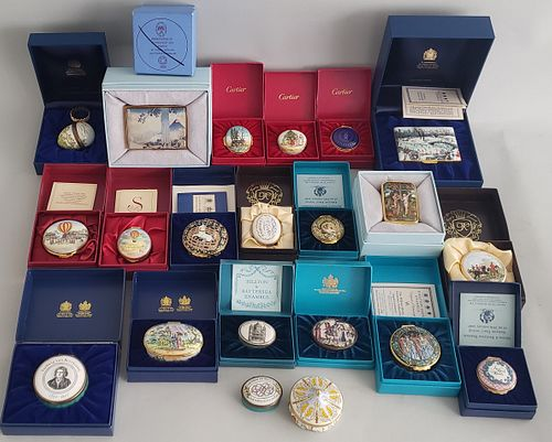Collection of 21 Covered Enameled Boxes