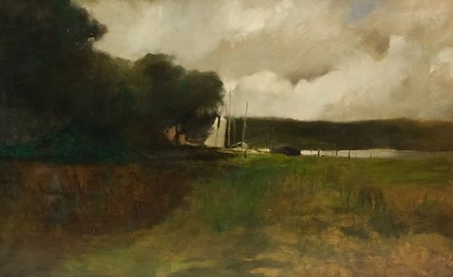 George Inness attr., Docks on the River