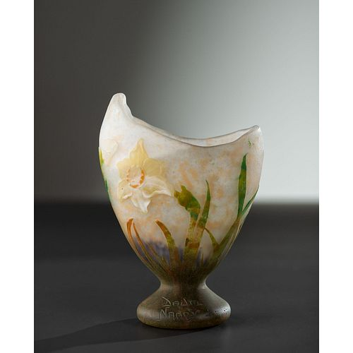 Daum, Vase with Applied and Wheel Carved Daffodils