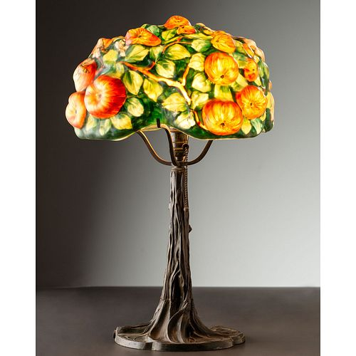 """Pairpoint, Puffy """"Apple Tree"""" Table Lamp"""