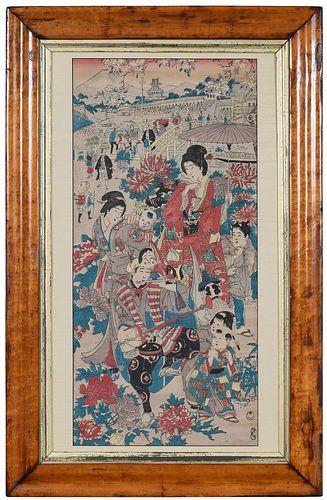 Large Framed Japanese Woodblock Print