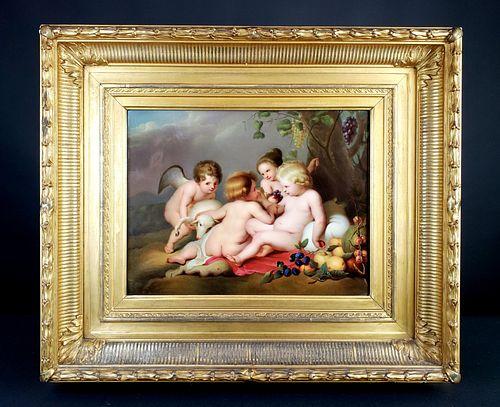 "KPM Plaque in Giltwood Frame ""Reubens Painting"", Circa 1900"