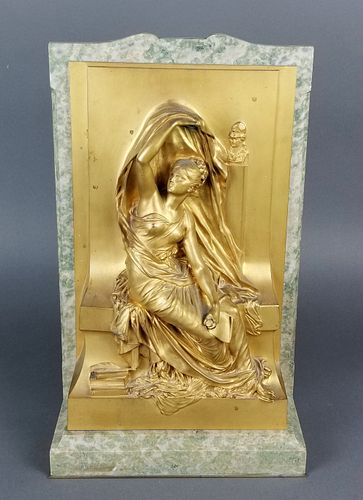French Bronze Jewelry Box w/ Inset Plaque Signed