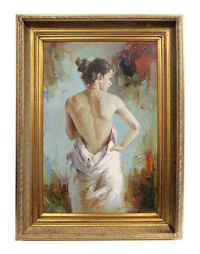 Large Jean Gabriel Domergue Oil on Canvas Circa 1950