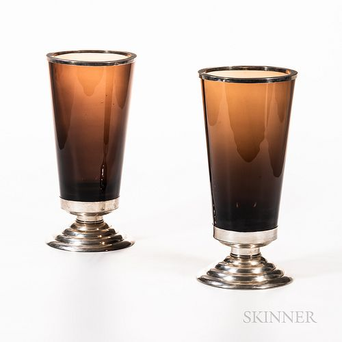 Pair of Jean E. Puiforcat (French, 1897-1945) Silver-mounted Fumed Glass Vases