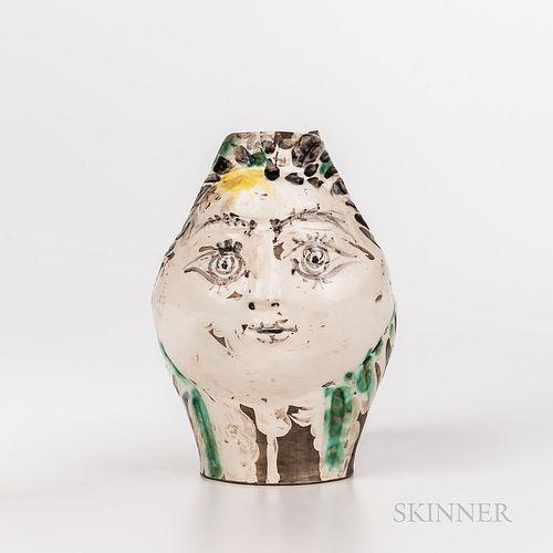"""Pablo Picasso (Spanish, 1881-1973) """"Tete de Femme Couronnee de Fleurs"""" Ceramic Pitcher"""