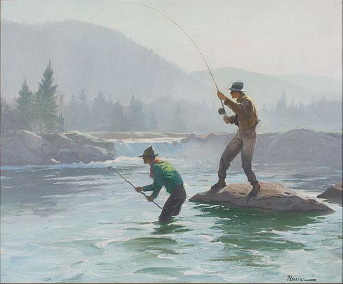 Ogden M. Pleissner (1905-1983), Salmon Fishing