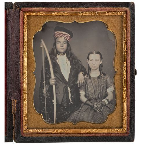 [EARLY PHOTOGRAPHY]. Sixth plate daguerreotype of Native American child and white child with accompanying image. N.p.: n.p., n.d.