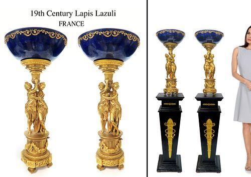 Pair of Lapis Lazuli Empire Bronze Centerpiece Compotes