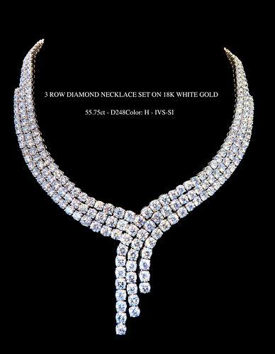 3 Row Diamond Necklace Set on 18K White Gold