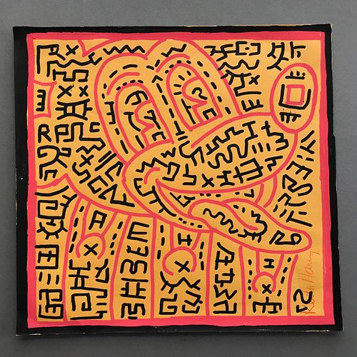 Keith Haring , Labyrinth Mickey, Marker on Paper. signed LR