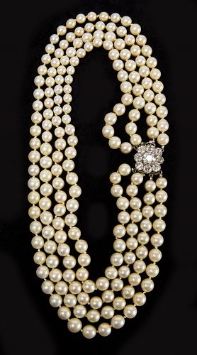 Semi-Baroque Cultured Akoya Pearl Diamond Necklace