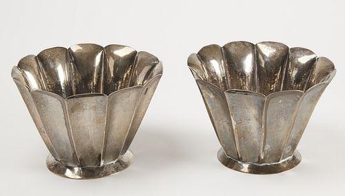 Fine Pair of Silver Ortega Vases
