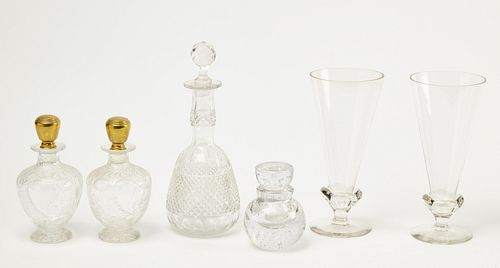 Lot of Glass Decanters, Vases & Misc
