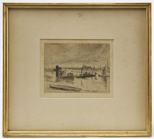 James Whistler - Etching -Cardigan Pier