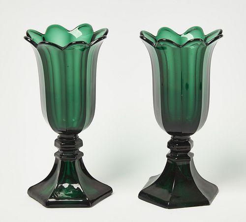 2 Emerald Green Boston & Sandwich Co Tulip Vases