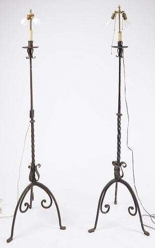 Pair Wrought Iron Standing Lamps
