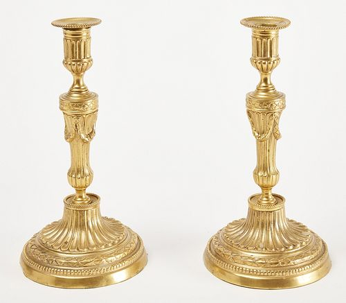 French 19th Century Fire Gilt Candlesticks