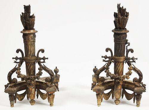 Fine Gilt Chenet Brass Andirons