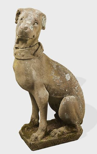Early English Carved Stone Dog