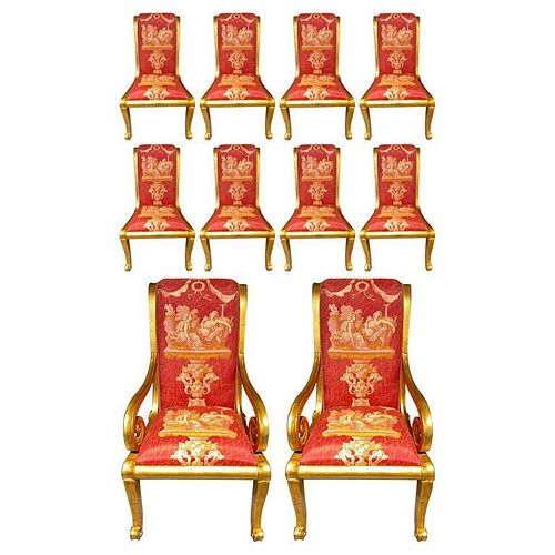 Ten Neoclassical Dining Chairs in Versace Style
