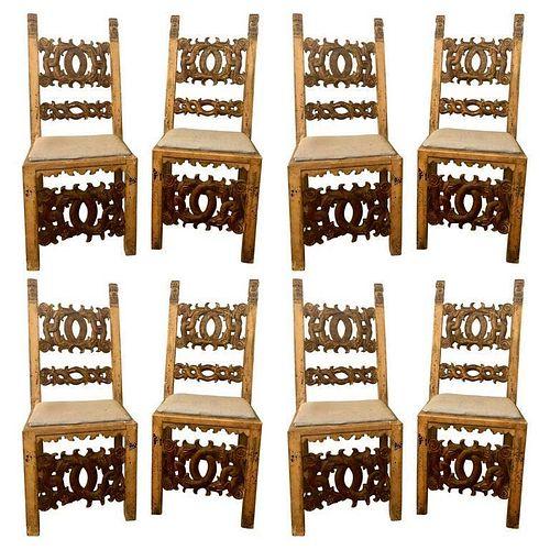 18th Century 8 Italian Renaissance Revival Chairs