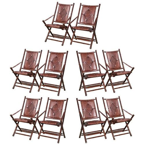 Set Ten Leather Bamboo Style Folding Chairs