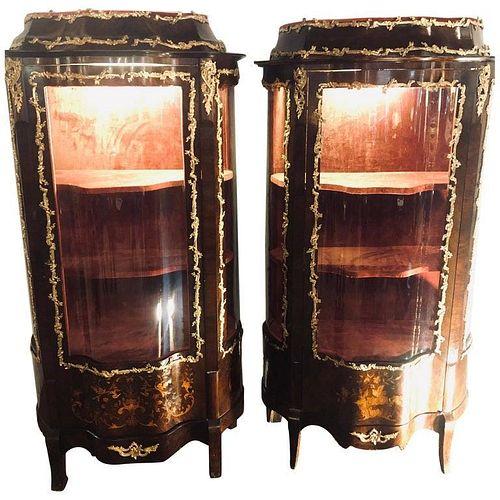 Pair Bronze Mounted Inlaid Vitrines Curio Cabinet