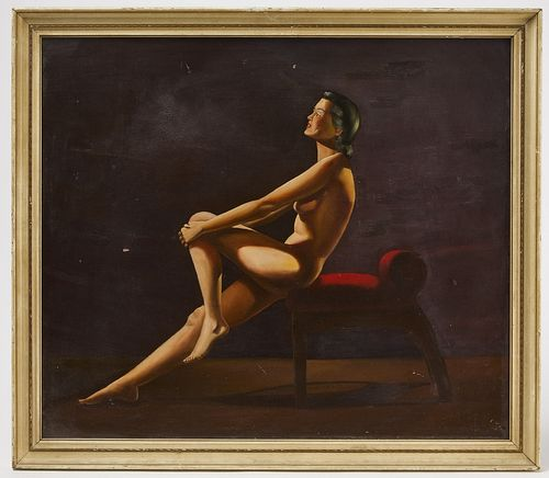 Art Deco Painting of a Nude signed CB