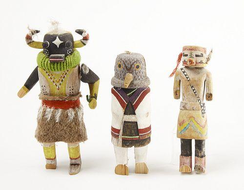 Three Native Carved Kachina Dolls