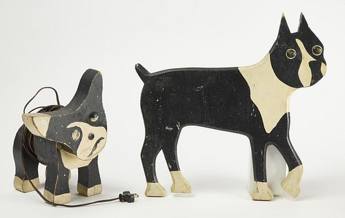 Two Folk Art Dog Sculptures