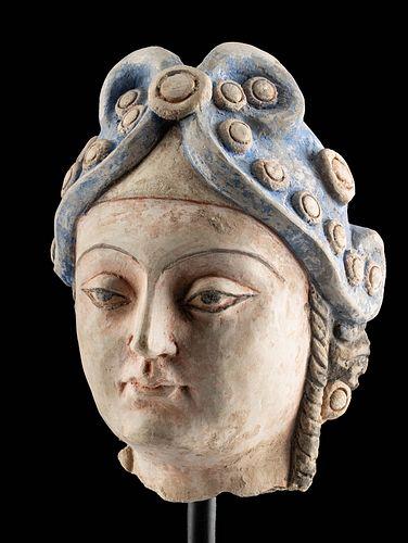 Stunning Gandharan Polychrome Stucco Bust of a Lady