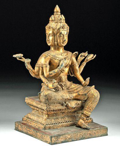 18th C. Thai Brass Phra Phrom (Four-Faced Buddha)