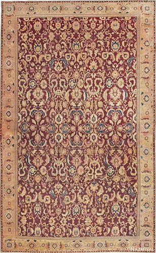 ANTIQUE INDIAN MANSION SIZE AGRA CARPET. 27 ft 3 in x 16 ft 6 in (8.31 m x 5.03 m).