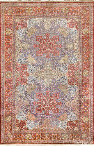 ANTIQUE SILK PERSIAN DABIR KASHAN CARPET. 15 ft 2 in x 10 ft 3 in (4.62 m x 3.12 m).