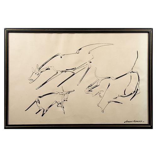 JORGE FLORES. Caballos. Tinta sobre papel Firmado al frente. Detalles de conservación.