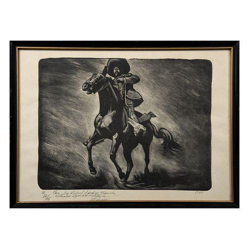 LEOPOLDO MÉNDEZ. Pancho Villa. Grabado 12 /15. Firmado y fechado 1962. Con dedicatoria. Enmarcado.