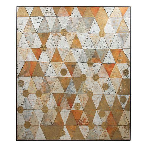 JUAN IBARRA. Sin título. Firmado y fechado 2016. Técnica mixta sobre tela. Enmarcado.155 x 132 cm