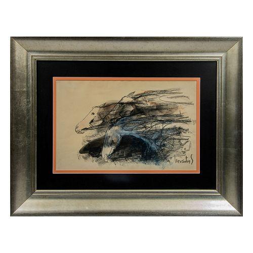 PEDRO CERVANTES.  Caballo negro. Mixta sobre papel. Firmada al frente. Enmarcada. 31x50 cm Detalles de conservación.