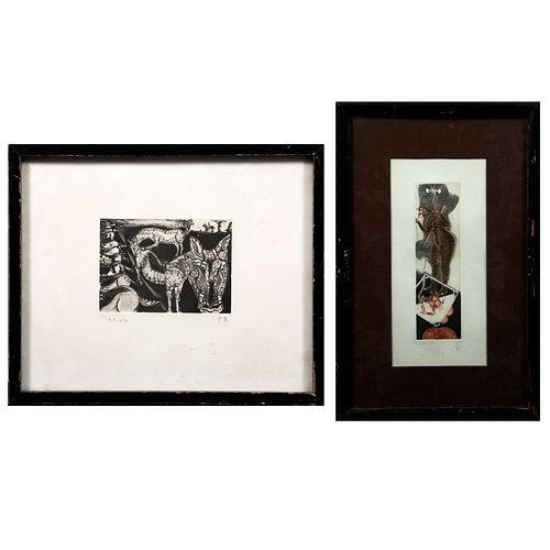 FRANCISCO TOLEDO. Lote de 2 grabados. Sin título. Seriados 18/45 y P/A 1. Con sello de la Galería Arvil. Enmarcados. 19x6 cm mayor