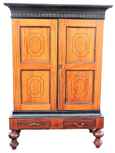 Important 19th C Anglo Indian Inlaid Armoire