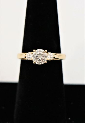 1.5 C Diamond Designer Ring, 14k Yellow Gold