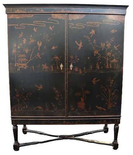 Chinoiserie Decorated Armoire w/ Gilding