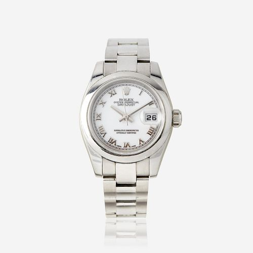 A lady's stainless steel automatic, bracelet wristwatch with date, Rolex Datejust