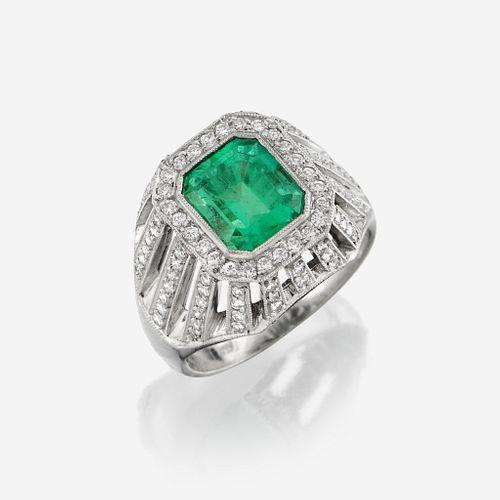An emerald, diamond, and platinum ring, Fratelli Piccini