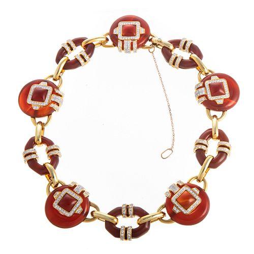 An Important 18K Carnelian & Diamond Necklace