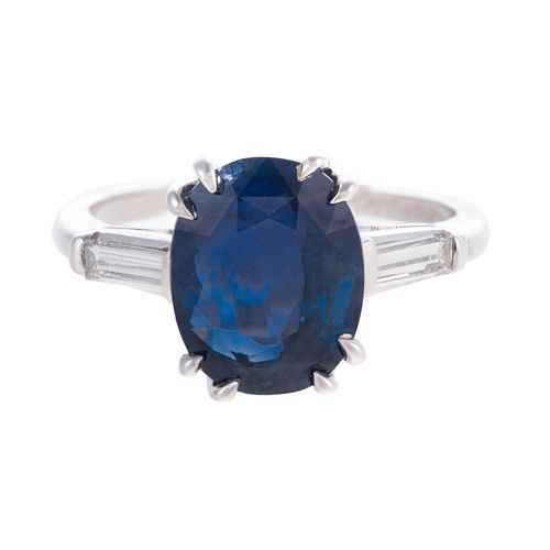 A 5.26 ct Unheated Burmese Sapphire Ring in Plat