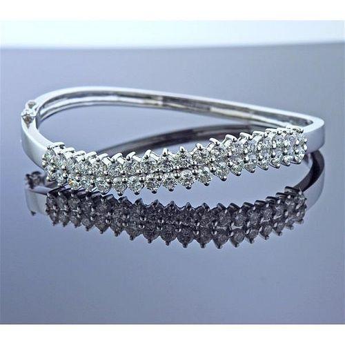 18k Gold Diamond Wave Bangle Bracelet