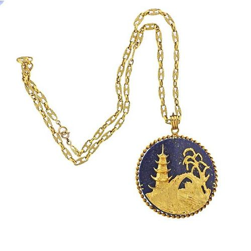 Vintage 18k Gold Lapis Pendant Necklace