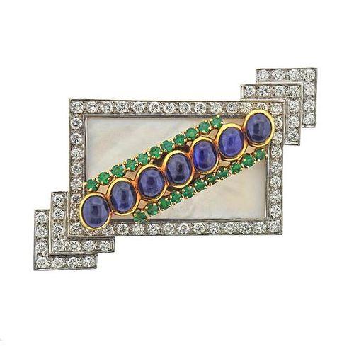 Emis 18k Gold Mother of Pearl Sapphire Emerald Diamond Brooch Pin